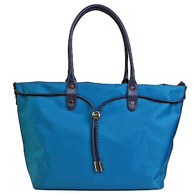 agnes b.  新款帆布麻束繩手提包 (大/藍色)