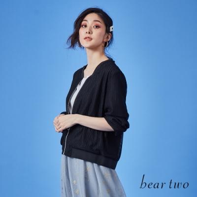 beartwo-扣環拉鍊針織外套-黑