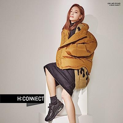 H:CONNECT 韓國品牌 女裝- 素面拉鍊中長裙-黑