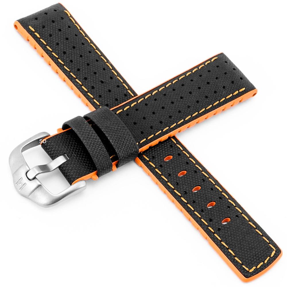 海奕施 HIRSCH Robby L橡膠複合小牛皮錶帶-黑橙