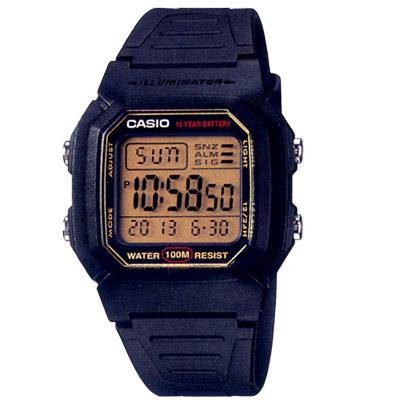 CASIO -10Year黑武士電子錶(W-800HG-9A)-黑x黃框/36.8mm