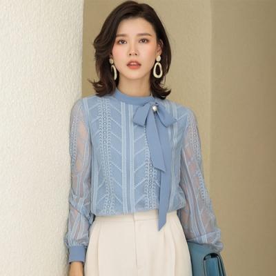 設計所在Lady-蕾絲襯衫長袖蝴蝶結上衣雪紡衫(三色M-2XL可選)