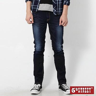 5th STREET 彈力伸縮小直筒牛仔褲-男-原藍磨