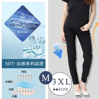 2F韓衣-韓衣名模款修身提臀涼感褲-黑-(M-3XL)