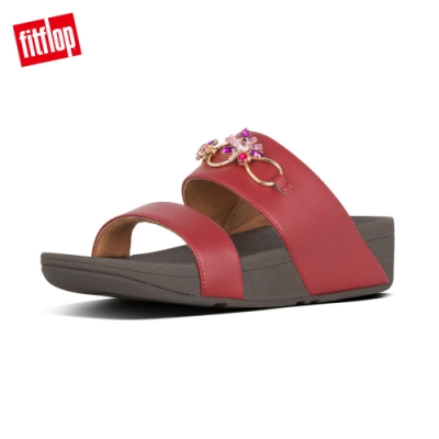FitFlop ROSA BLOSSOM SLIDES寶石造型涼鞋-女(暗紅色)
