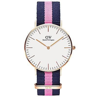DW手錶 官方旗艦店 36mm玫瑰金框 Classic 活潑藍粉尼龍帆布手錶 @ Y!購物