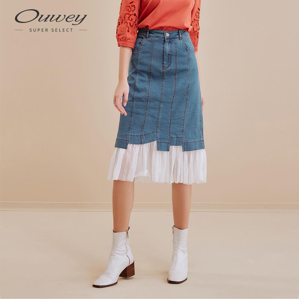 OUWEY歐薇 可拆式網紗牛仔窄裙(藍)
