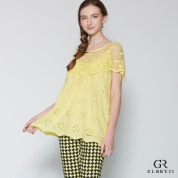 GLORY21 蕾絲A-LINE罩衫上衣_黃