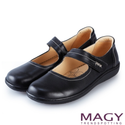 MAGY 樂活舒適 Q軟牛皮腳背帶休閒平底包鞋-黑色