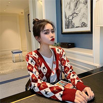 DABI 韓系格子毛針織衫學院風單品外套