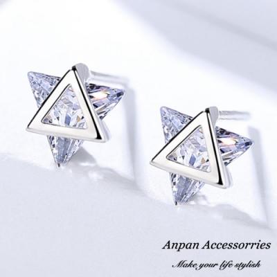 ANPAN愛扮S925純銀飾 雙三角六星白金鑽石耳釘式耳環