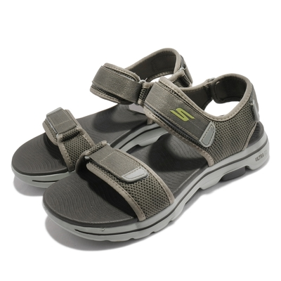 Skechers 涼鞋 Go Walk 5 魔鬼氈 男鞋 穩定 支撐 避震 緩衝 外出 郊遊 綠 灰 229003OLV