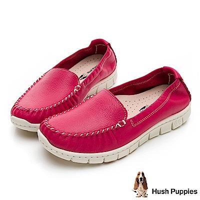 Hush Puppies Petrel 柔軟牛皮懶人鞋-桃紅