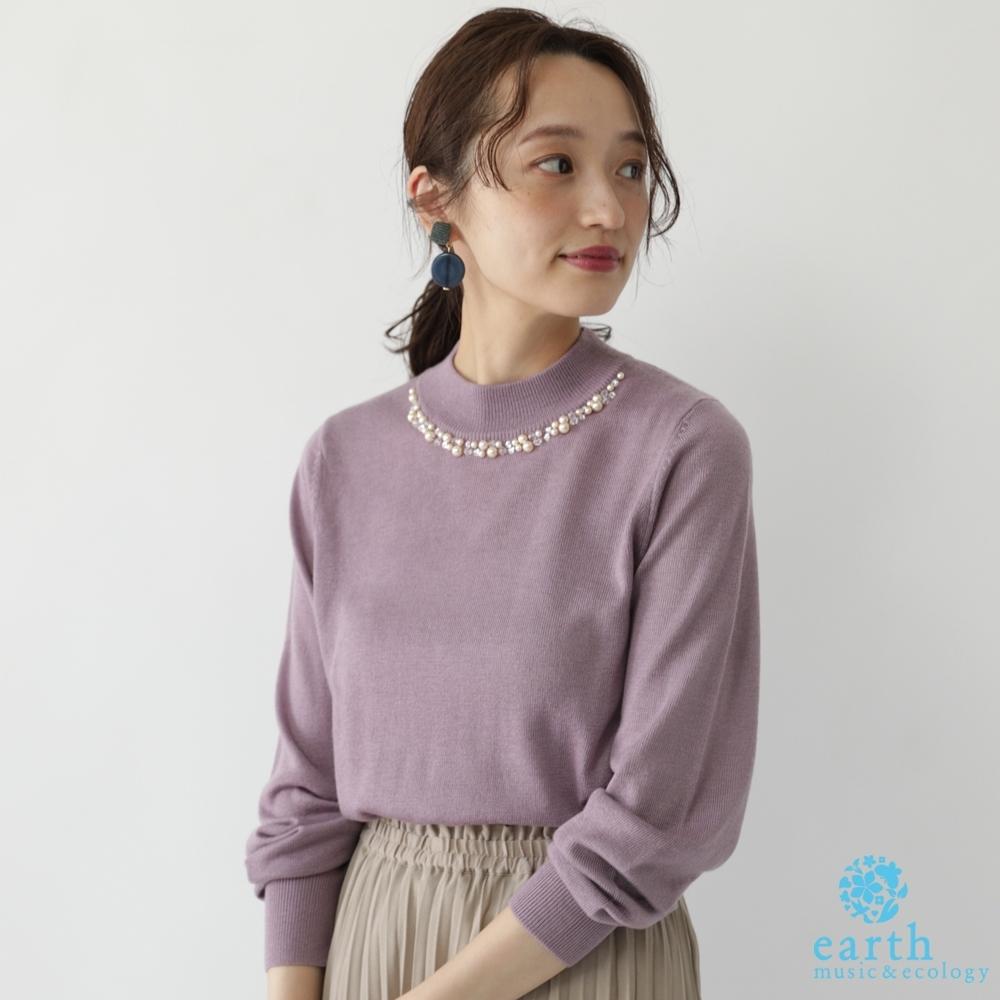 earth music 珍珠領口裝飾素面/橫條紋針織上衣