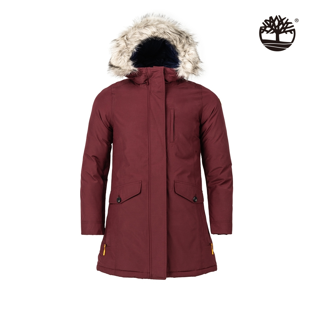 Timberland 女款棕褐色防水冬季派克連帽大衣 A2C25