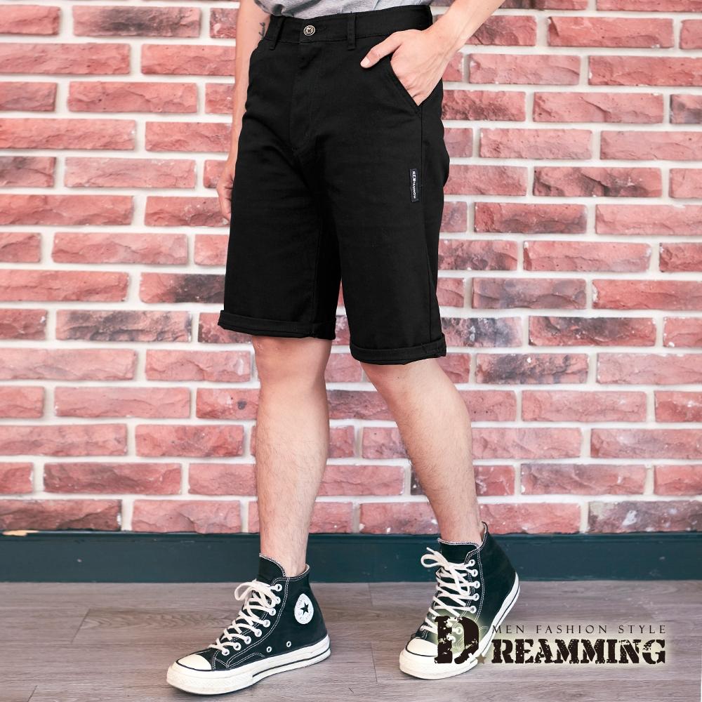 Dreamming 日系布標伸縮休閒短褲 彈力 舒適-共二色 (黑色)
