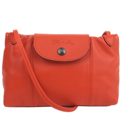 LONGCHAMP Le Pliage Cuir 新款黑扣小羊皮斜背包(鐵鏽紅)