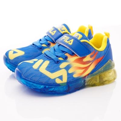 FILA頂級童鞋 火焰電燈運動鞋款 EI25T-399藍黃(中小童段)