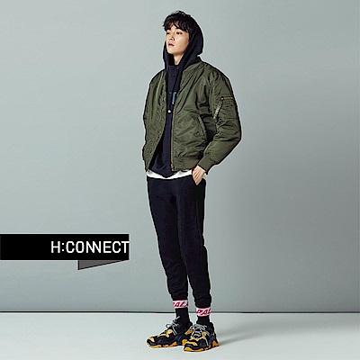 H:CONNECT 韓國品牌 男裝-黑白圖像印字帽T-黑