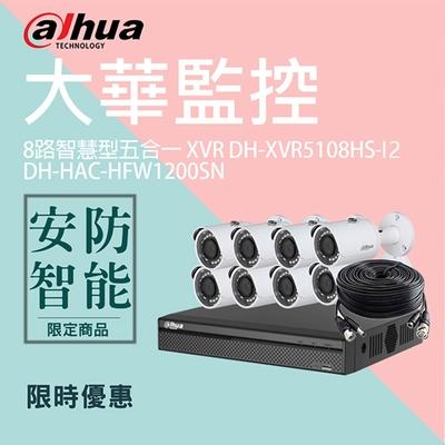 【大華dahua】套餐-奢華版8路8鏡(主機+8攝影機+2配件)
