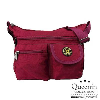 DF Queenin - 尼龍風潮不敗經典防潑水側背包-玫紅