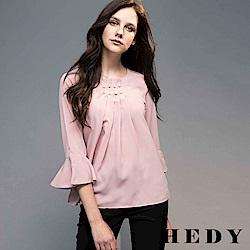 Hedy赫蒂 珍珠壓褶荷葉袖雪紡上衣(共兩色)