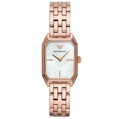 Emporio Armani 閃耀珍珠貝時尚手錶(AR11147)-玫瑰金/24mm
