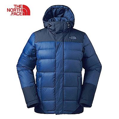 The North Face北面男款藍色輕便防潑水羽絨外套 3RKBLKM