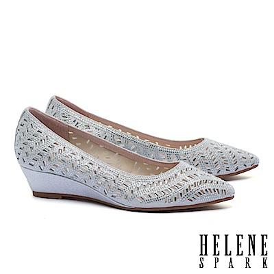 高跟鞋 HELENE SPARK 晶鑽鏤空沖孔羊麂皮楔型高跟鞋-銀