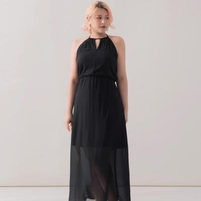 AIR SPACE PLUS 高雅鏤空美背洋裝(黑)