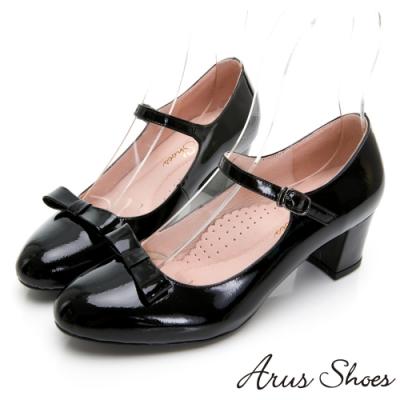 Arus-真皮瑪莉珍蝴蝶結甜美氣質圓頭中跟鞋-黑色