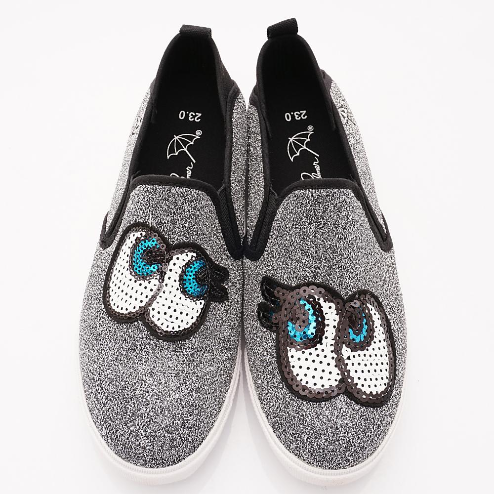 雨傘牌 大眼睛休閒鞋款 EI83614銀(親子大童段)