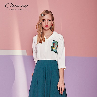 OUWEY歐薇 HAVANA熱帶印花口袋V領襯衫(白)