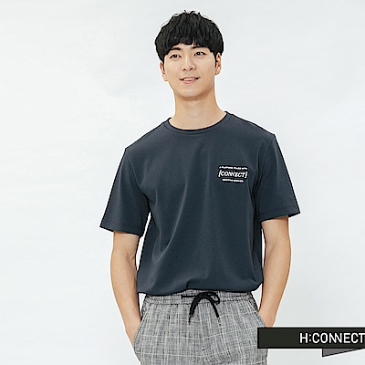 H:CONNECT 韓國品牌 男裝-重疊圖像印字T-shirt-深藍