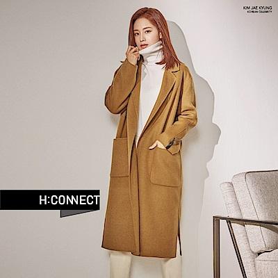 H:CONNECT 韓國品牌 女裝 - 氣質綁帶羊毛外套 - 駝色