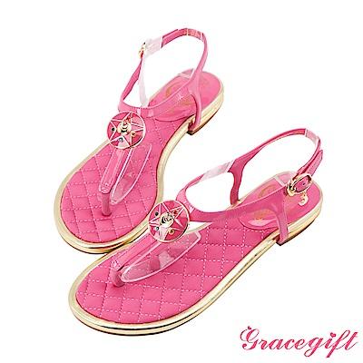 Grace gift-美少女戰士月光水晶亮漆T字涼鞋 桃紅