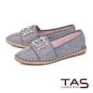 TAS方形水鑽飾釦拼接草編休閒鞋-低調灰