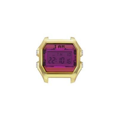 I AM 玩色新革命電子錶-金殼紫紅色錶盤_小(IAM-005)37x40mm