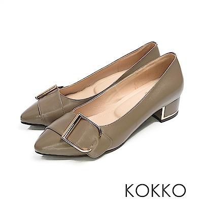KOKKO - 經典尖頭羊皮鏡面粗跟鞋 - 墨綠