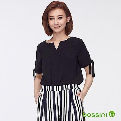 bossini女裝-圓領開襟造型上衣01黑