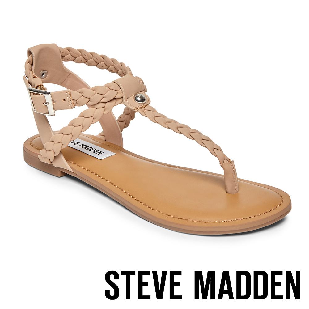 STEVE MADDEN- BRAIDED 編織羅馬繫帶平底涼鞋-米色