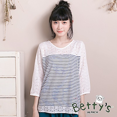 betty's貝蒂思 日系簍空蕾絲條紋上衣(深藍)