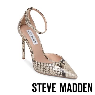 STEVE MADDEN-VOLT 時尚款 繞踝尖頭細跟高跟女鞋-蛇皮
