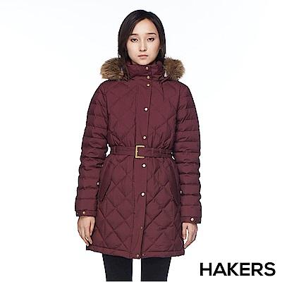【HAKERS 哈克士】女款 防潑羽絨外套(酒紅)