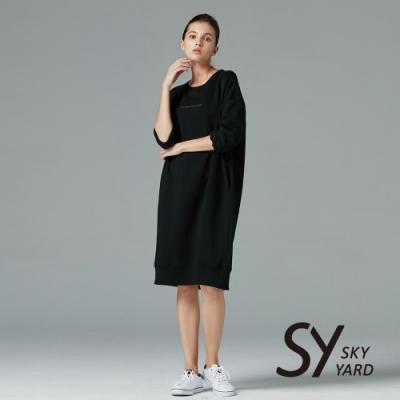【SKY YARD 天空花園】簡約刺繡內刷毛長版上衣-黑色