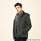 GIORDANO 男裝3合1可拆帽戶外防風防水保暖外套-98 碳綠