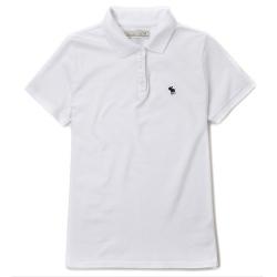 A&F男款小麋鹿黑 Logo素色POLO衫(白色-M)