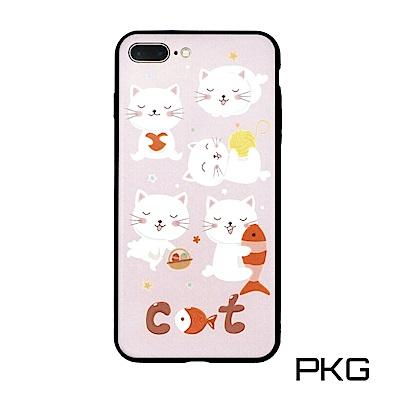 PKG Apple IPhone 7/8 Plus 彩繪保護殼-浮雕彩繪-歡樂貓