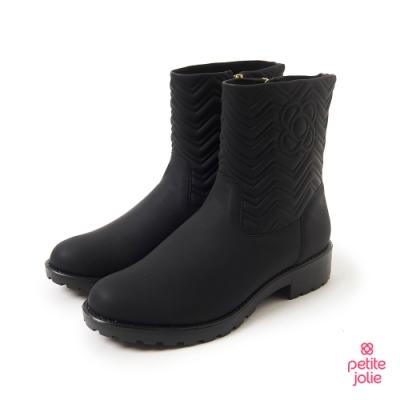 Petite Jolie-V字壓紋短筒靴-黑色