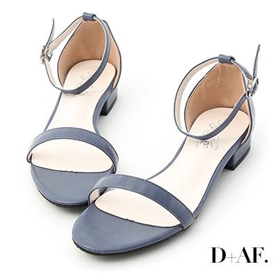 D+AF 簡約美學.一字繫踝低跟涼鞋*藍